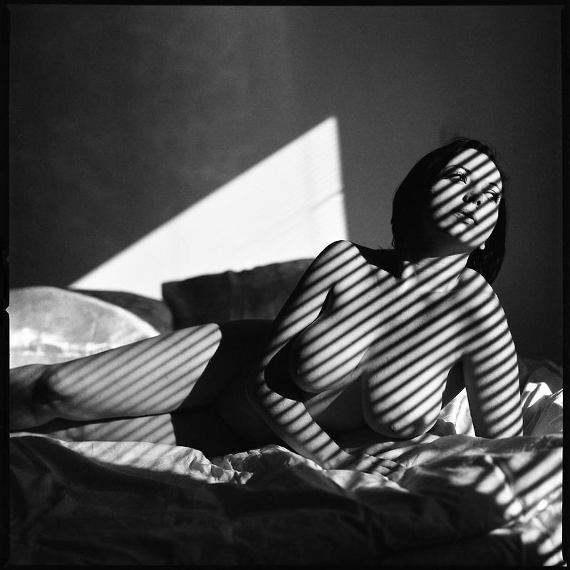 Basia, analog, akt, nude, studio, żaluzje